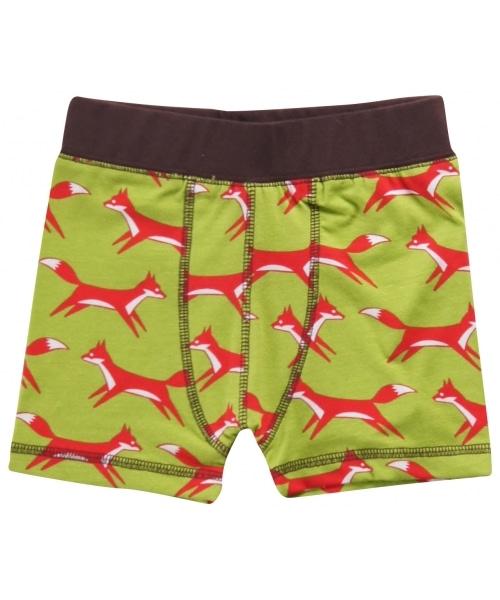 Green foxes boys underwear in organic cotton by Maxomorra