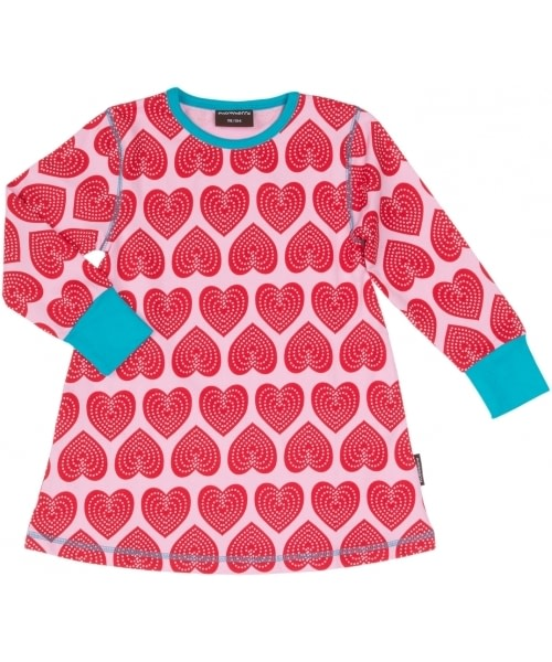 Pink heart top in Scandi print by Maxomorra - organic cotton children's clothes