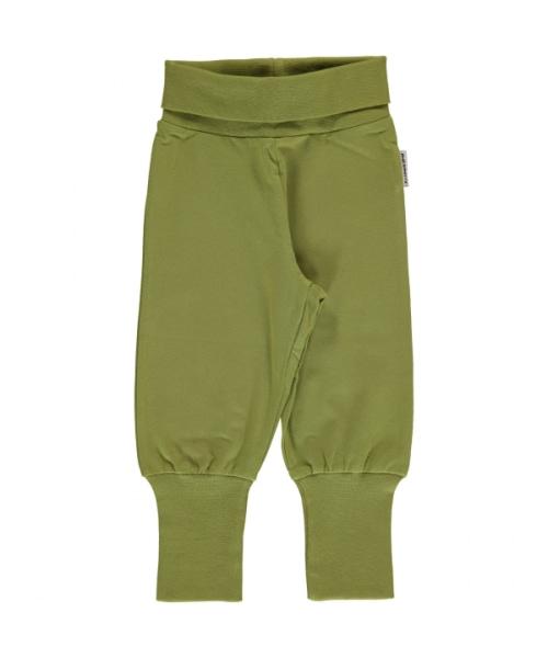 Maxomorra apple green rib pants organic cotton ~ Basics 1