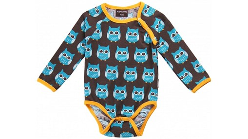 Bright unisex baby vest in blue owls print by Maxomorra