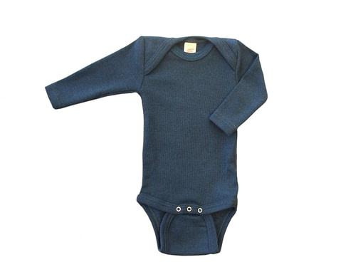 Blue organic wool silk blend merino baby vest