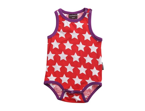 Colourful unisex baby vest in red star print by Maxomorra