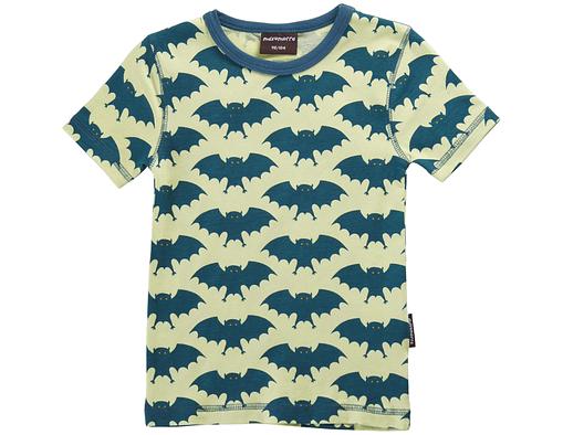 GOTS certified organic cotton t-shirt in bright green funky bat print by Maxomorra