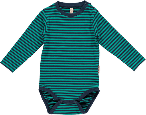 Bright unisex stripes colours in organic cotton long sleeve baby vests by Maxomorra 1