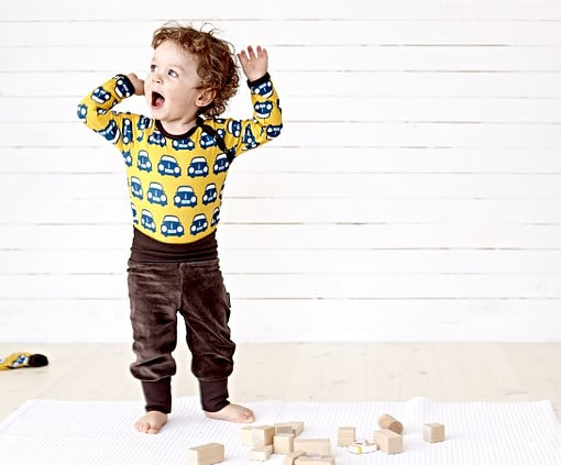 Organic cotton baby underwear in yellow car print by Maxmorra