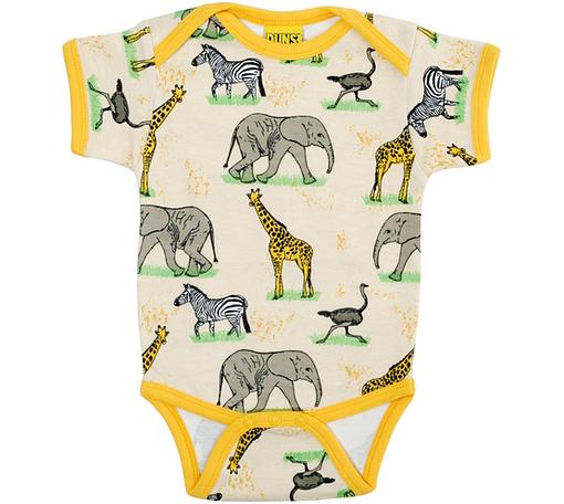 Safari animal baby vest with giraffes, elephants and zebras