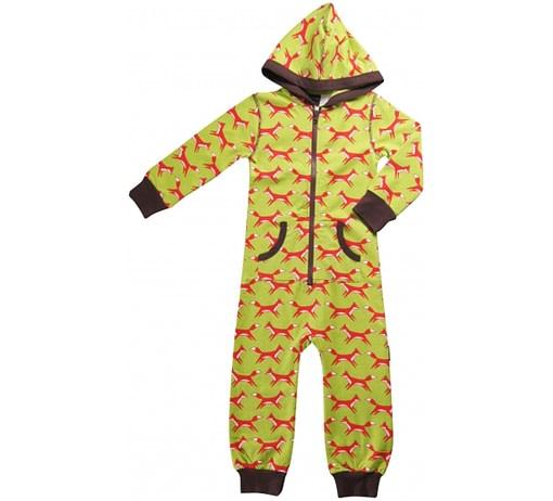 Foxes one piece organic pyjamas in green & red print - Maxomorra 1