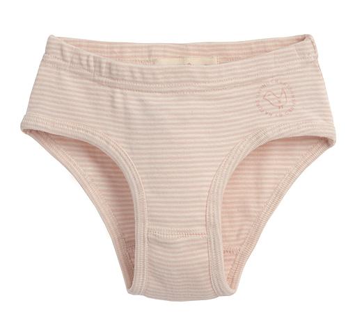 Pink and white stripe girls organic cotton knickers