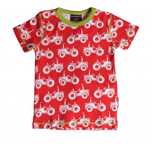 Organic cotton scandi clothing - red tractors tee