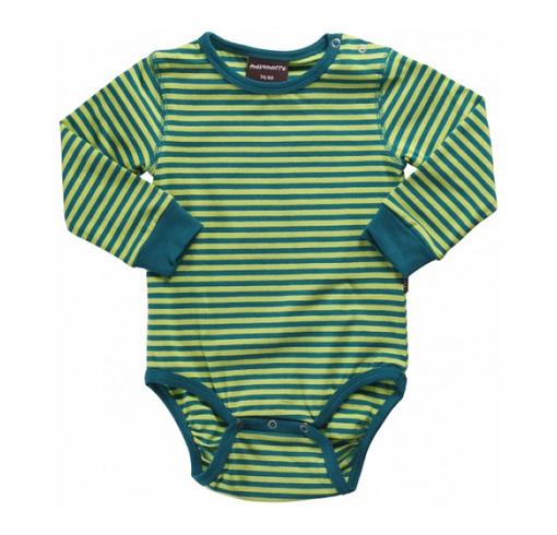 Green stripes - Maxomorra organic cotton baby vest