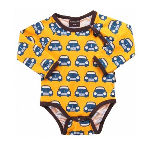 Yellow car bodysuit organic cotton Maxomorra
