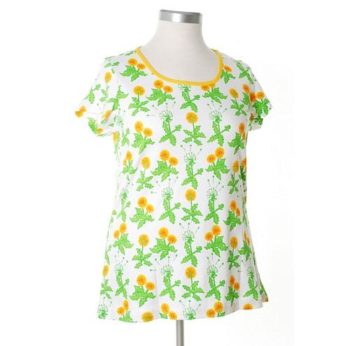 DUNS Sweden organic cotton ladies dandelions print summer t-shirt 1