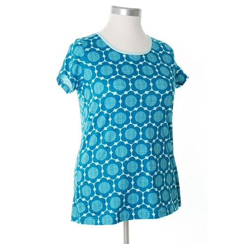 More than a Fling ladies petrol retro flowers print organic t-shirt 1