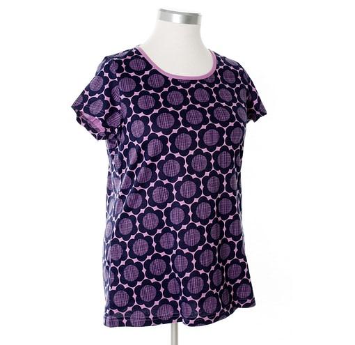 More than a Fling organic cotton ladies purple retro flowers print summer t-shirt (XL) 1