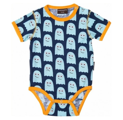 Short sleeve baby t-shirt with poppers - retro ghost print by Maxmorra