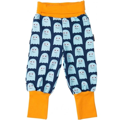 Ghosts print baby trousers by Maxomorra - soft wide waistband and organic cotton