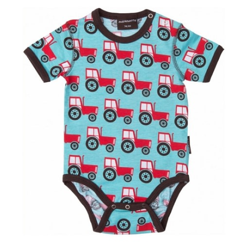 Bright boys baby clothes in Scandi tractors print