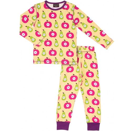Apples and pears print girls organic cotton pyjamas by Maxomorra - Scandi print children's clothes