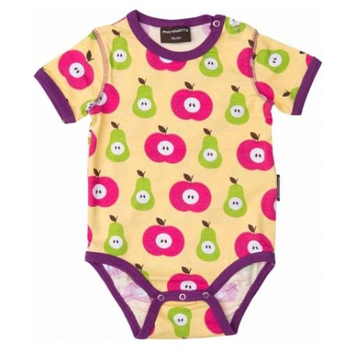 Maxomorra baby vest in apples and pears print
