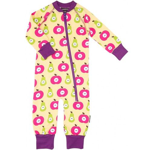 Apple and Pear print Zip onesie pyjamas by Maxomorra - organic cotton sleepwear