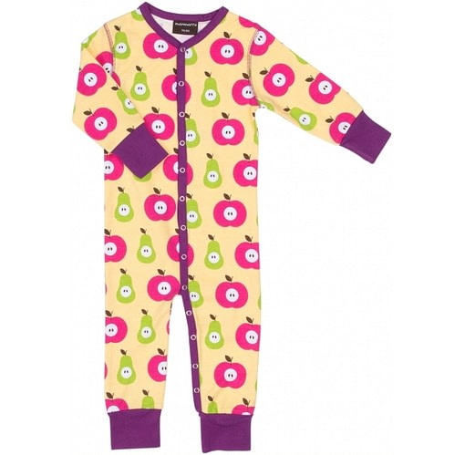 Apple and pear print poppered sleepsuit by Maxomorra