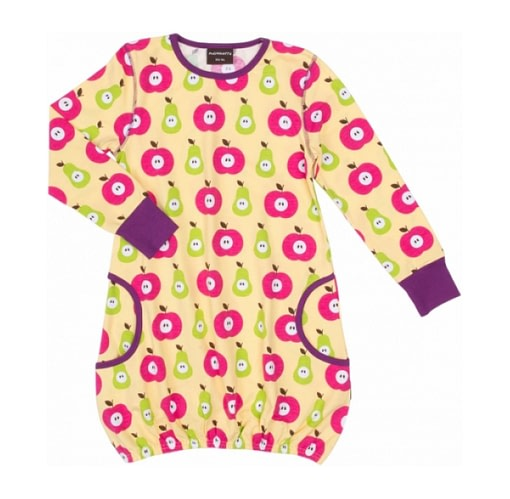 Organic cotton bright dress in apples and pears scandi print by Maxomorra