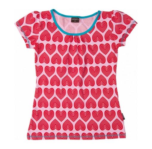 Organic cotton scandi print t-shirt heart print top by Maxomorra for women
