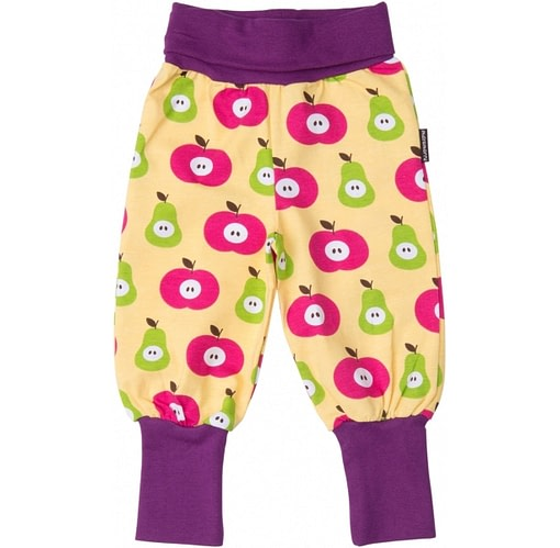 Apple and pear print organic cotton soft trousers by Maxomorra