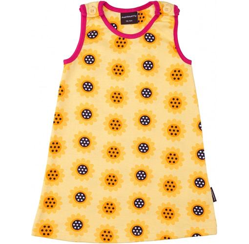 Summer baby dress in yellow sunflower print