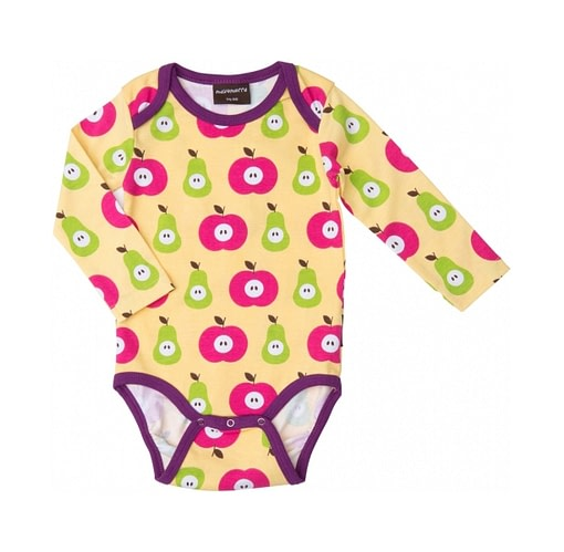 Organic cotton baby vest in bright apple and pear print by Maxamorra
