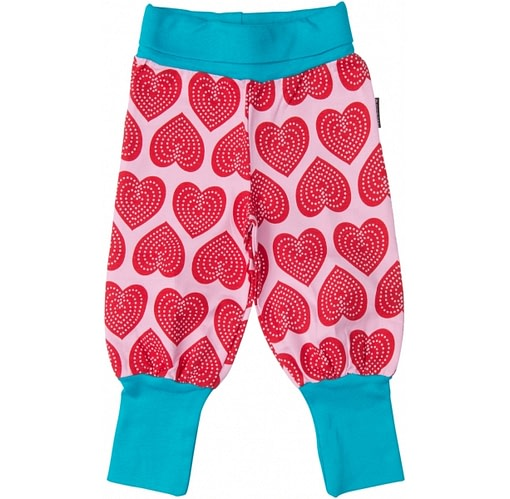 Heart print baby trousers in bright pink by Maxomorra