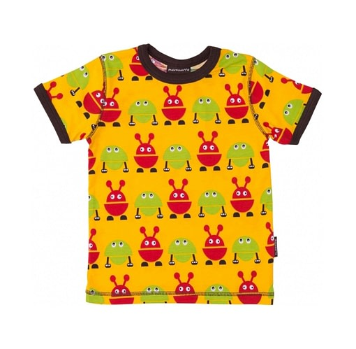 Yellow t-shirt with red and green monsters by Maxomorra
