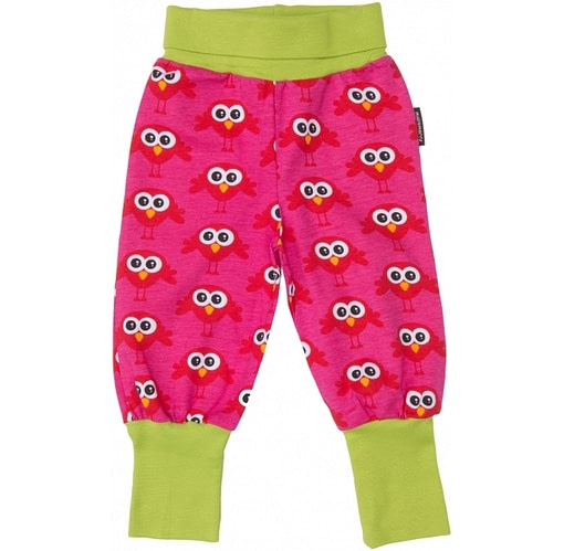 Cerise and red Scandi bright birds print trousers in organic cotton