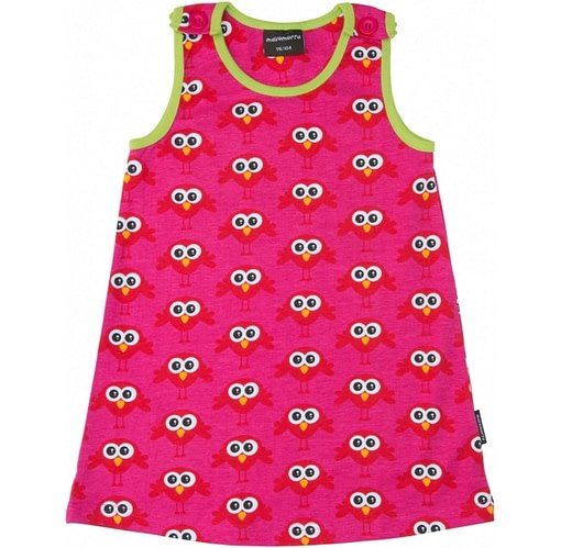 Bright summer baby dress in organic cotton and Scandi prints by Maxomora