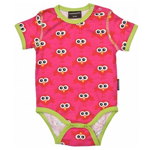 Bright pink birds short sleeve organic cotton vest by Maxomorra