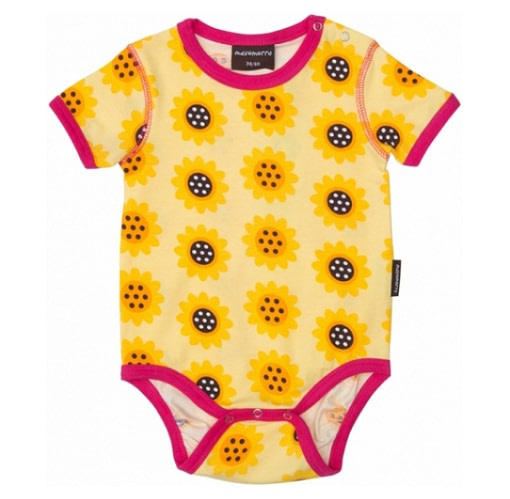 Sunflower baby vest with short sleeves - organic cotton
