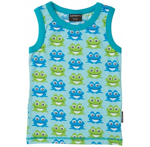 Sleeveless t-shirt vest in organic cotton by Maxomorra - blue frog