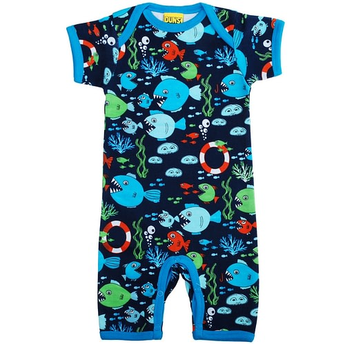 Fishes print by DUNS Sweden in summer romper organic cotton