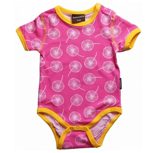 Dandelion print bright cerise baby clothes in Scandi prints