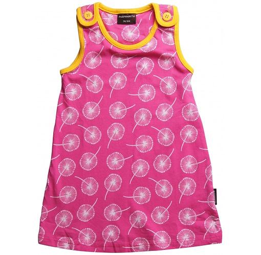 Summer baby dress in cerise dandelion clock print