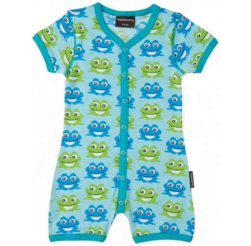 Organic cotton summer playsuit blue frogs