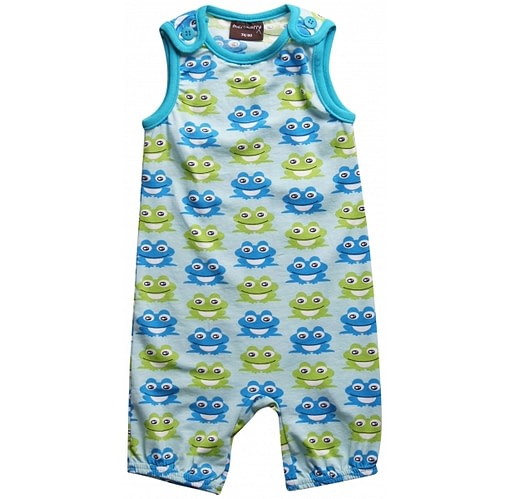Organic cotton frog dungarees by Maxomorra