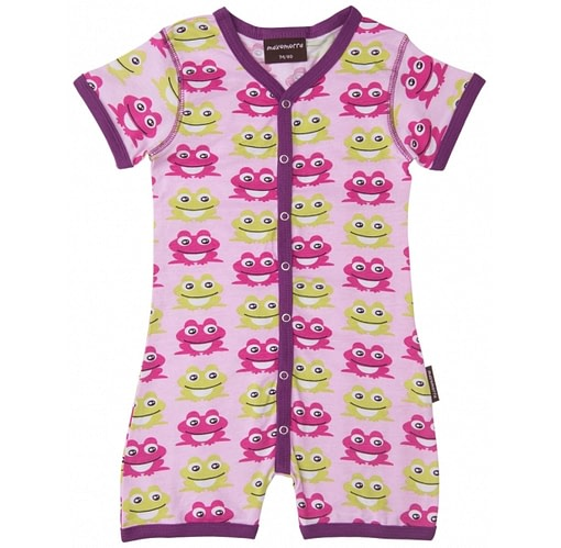 Pink frog summer playsuit by Maxomorra