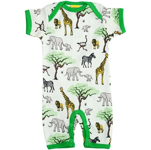 Summer romper by DUNS Sweden in baby to toddler sizes - africa animals print
