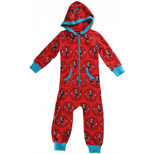 Organic cotton children's hooded onesie pyjamas in red retro football print by Maxomorra