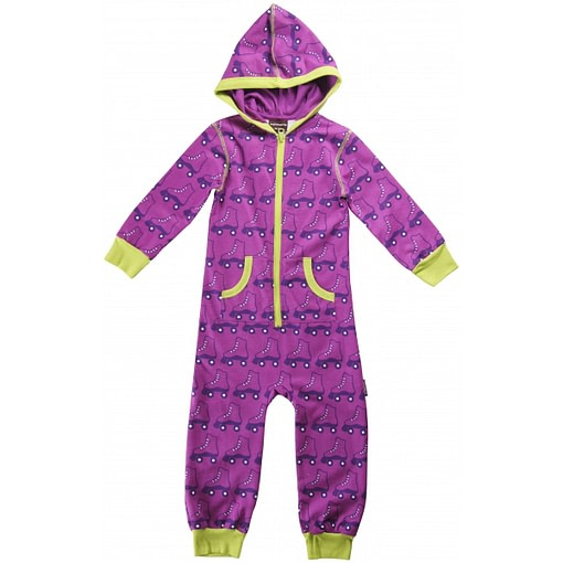 Organic cotton children's hooded onesie pyjamas in purple roller skate print by Maxomorra