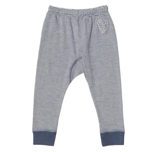 Living crafts ~ Blue & White stripe organic merino wool & silk long pants 1