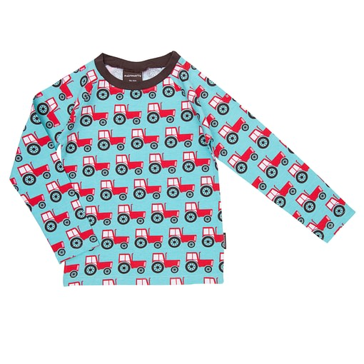 Bright tractors print for boys from Maxomorra