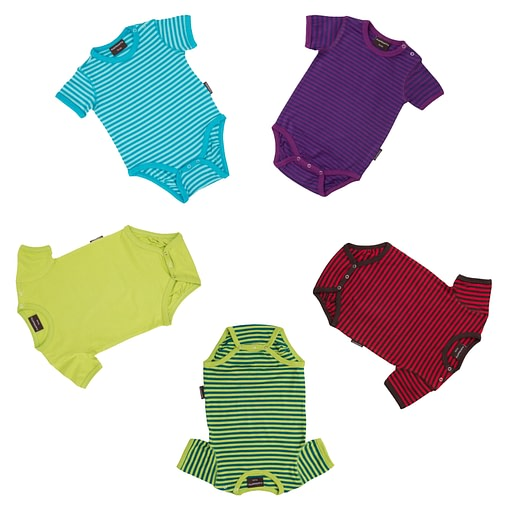 Unisex striped baby bodysuits with short sleeves by Maxomorra