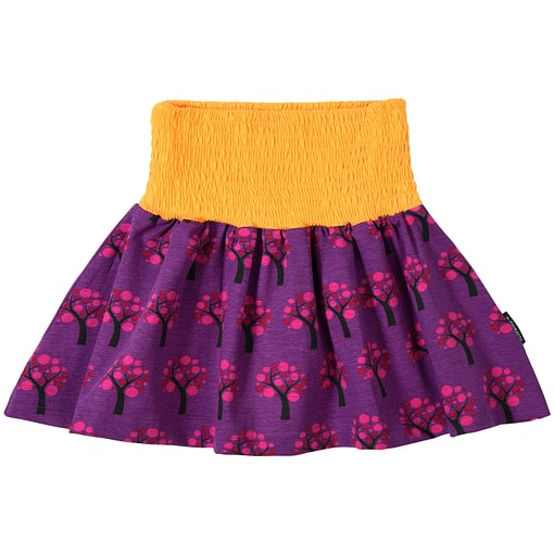 Apple trees skirt in bright organic cotton scandi print by Maxomorra